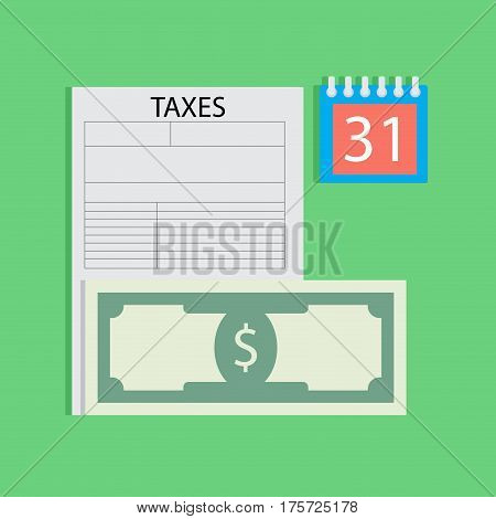 Tax day flat. Finance taxation element money banknote vector illustration