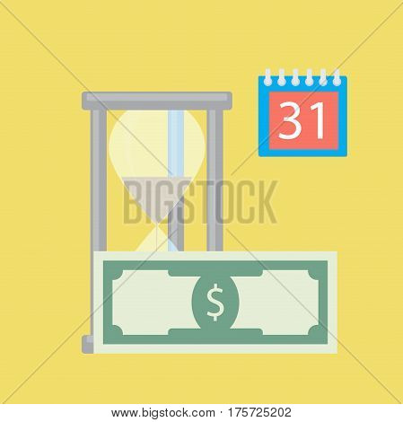 Time for money salary. Money payroll wages payment compensation and income vector illustration