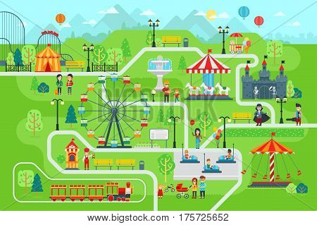 Amusement park map infographic elements in flat vector design. Happy people spend time relaxing in nature. Parents and children are walking in the park, attractions, castle, Ferris wheel, train, cars.