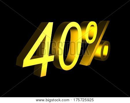 golden fourty percent on black background 3d render - sales financial concept