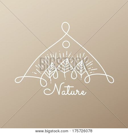 Vector logo of nature elements on golden background. Linear icon of landscape with trees, plants - business emblems, badge for a travel, spa and ecology concepts, health and yoga Center.
