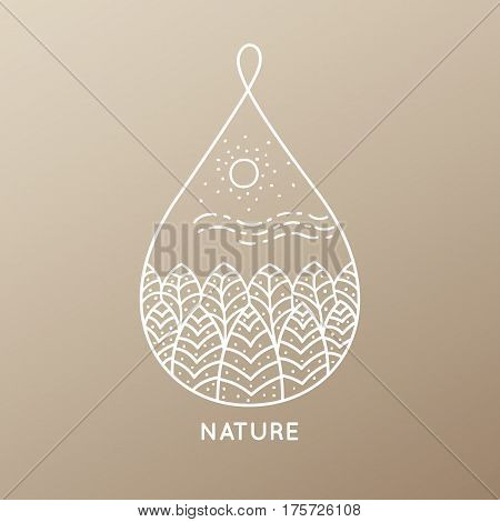 Vector logo of nature elements on golden background. Linear icon of landscape with trees, plants - business emblems, badge for a travel, farming and ecology concepts, spa, health and yoga Center.