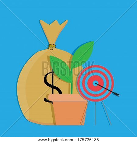 Financial target vector. Bull eye darts financial goal in business strategy investment illustration