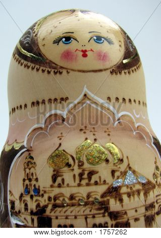 Close-up of a nesting doll from Russia. poster