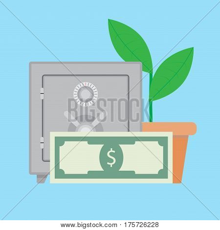 Growth deposit finance. Capitalization deposit bank vector illustration