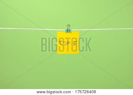 Yellow Paper Note On Clothesline With Text Top 5