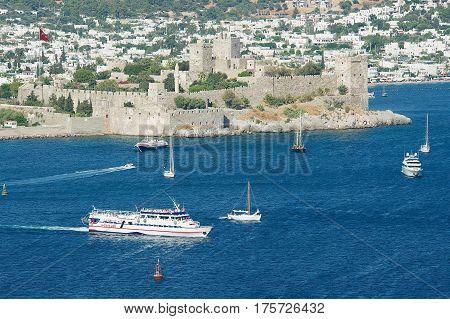 BODRUM, TURKEY - AUGUST 15, 2009: View to the Halicarnassus castle and yachts in Bodrum, Turkey.