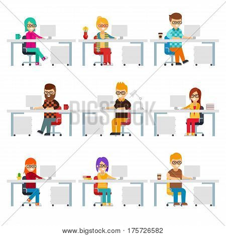 Hardworking creative people work in the office with computers vector flat design. Funny office workers are in workplaces. Men and women are in colorful clothes at work isolated on white background