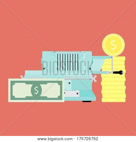 Financial accounting vector concept. Adding machine and golden coin with banknote money illustration