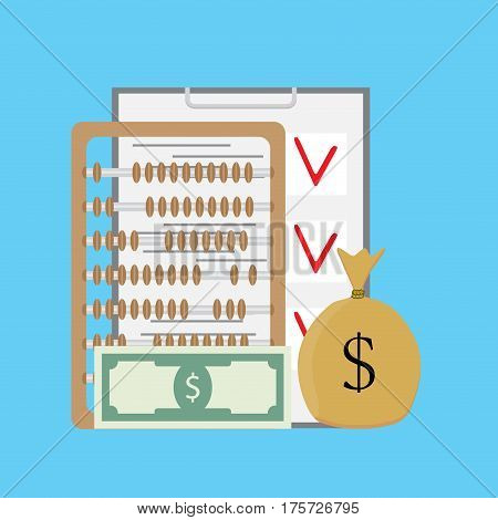 Check and count money. Finance checklist and abacus sack of money. Vector illustration