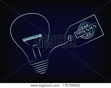 Vector Of Idea Lightbulb With Patent Tag