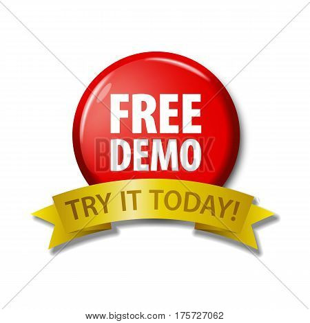 Red Button With Words 'free Demo - Try It Today'
