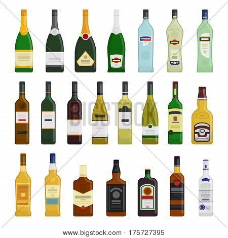 Big set of different bottles of hot drinks vector flat design illustration isolated on white background