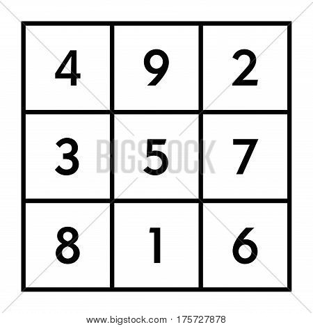 3x3 magic square of order 3 assigned to astrological planet Saturn with magic constant 15. The sum of numbers in any row, column, or diagonal is always fifteen. Black and white illustration. Vector.