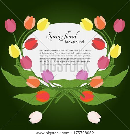 Card with spring tulips and simple text on a green background. For use as logos on cards in printing posters invitations web design and other purposes.