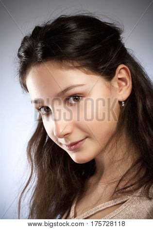 Portrait of a Preadolescent Girl with Brown Hair