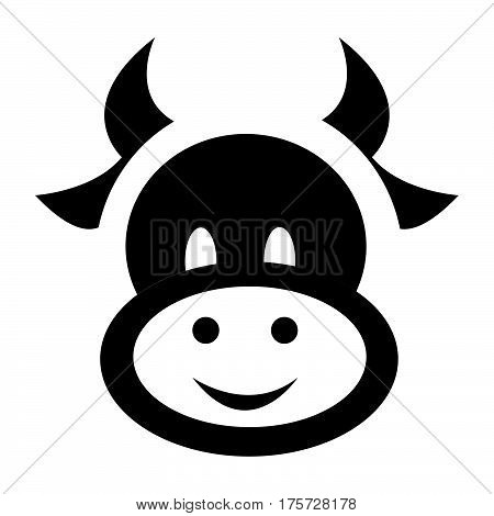 a Simple flat black cow icon vector