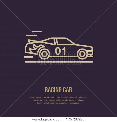 Racing sport car vector line icon. Speed automobile logo, driving lessons sign. Auto championship illustration.