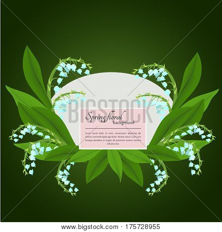 Spring lily of the valley and sample text on a green background. For use as logos on cards in printing posters invitations web design and other purposes.