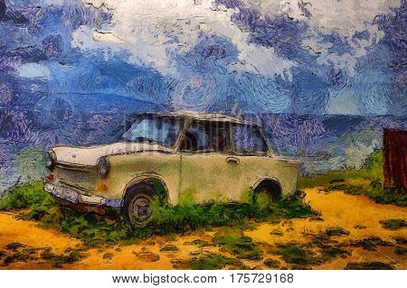 oil painting old car on a background of sea landscape