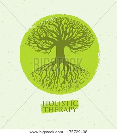Holistic Therapy Tree With Roots On Organic Paper Background. Natural Eco Friendly Medicine Vector Concept.