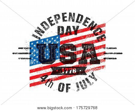 Happy Independence Day. USA Celebration Rough Vector Illustration Design Element Concept.