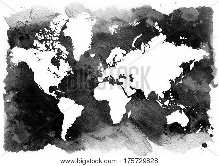 Horizontal vintage map of the world. Black and white background.