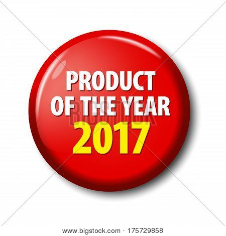 Bright Red Button With Words 'product Of The Year 2017'