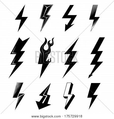 Icon set of lightnings in black-and-white colors. Graphic symbols collection of lightning bolt. Qualitative vector signs for weather design science electricity energy danger speed etc