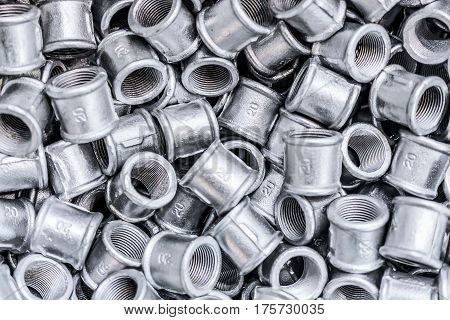Placer connecting fittings for metal pipes. Small steel castings.