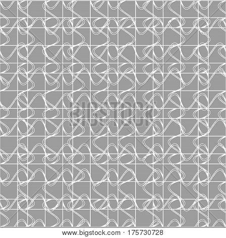 Seamless pattern with geometric shapes and symbols on a light background