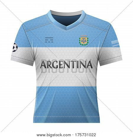 Soccer shirt in colors of argentinean flag. National jersey for football team of Argentina. Vector illustration about soccer sport game football championship national team gameplay etc