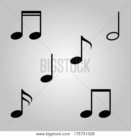 Music notes sign icon. Musical symbol vector