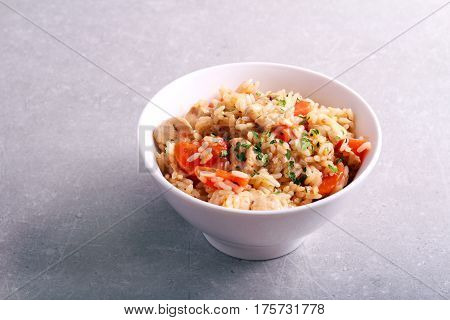 Chicken carrot and rice casserole in a bowl