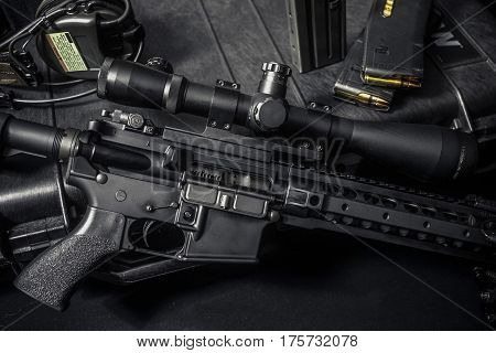 assault rifle 5.56mm with rifle scope for long length