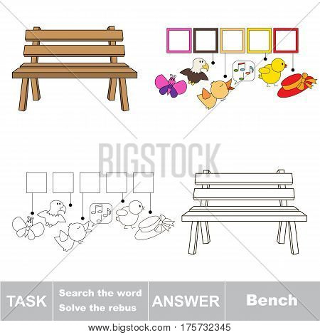 Educational puzzle game for kids. Find the hidden word Bench.