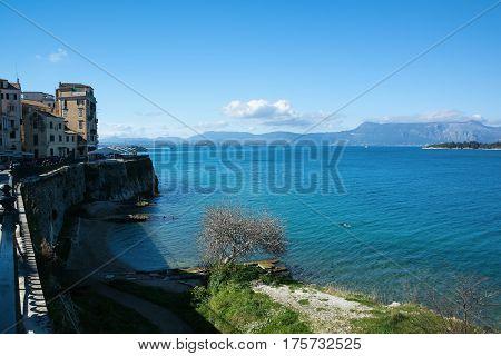 Beautiful landscape of Kerkyra Town capital city of Corfu Island Greece.