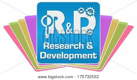 R And D concept image with text and related symbol.