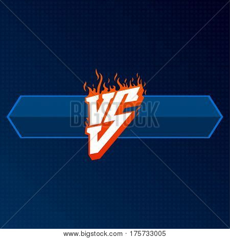 Versus logo with board for design. VS letters illustration. Competition Icon. Fight Symbol.