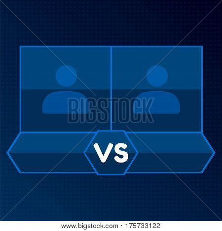 Versus Screen with Blank square Frames, vector blue mono line VS border on dark background