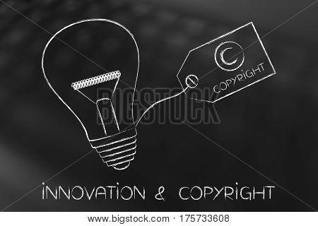 Idea Lightbulb With Copyright Tag