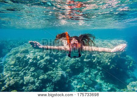 Girl in swimming mask diving in Red sea near coral reef, underwater shoot