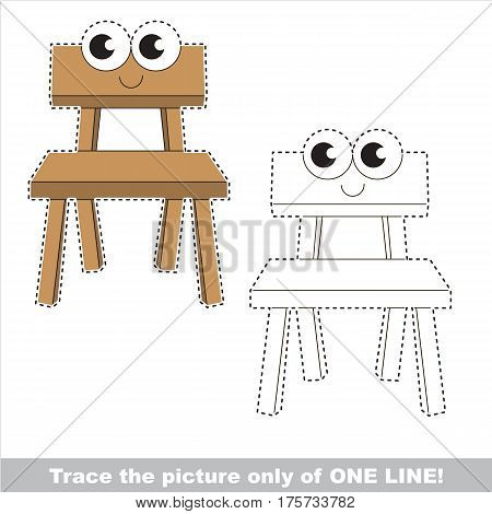 Wooden Chair to be traced only of one line, the tracing educational game to preschool kids with easy game level, the colorful and colorless version.