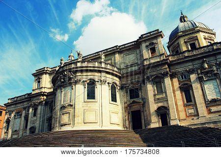 Rome, Italy - March 10 2015 : Front of the historical Basilica Papale di Santa Maria Maggiore church in Rome