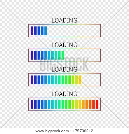 set of vector progress-bars with rainbow colors gradient filling on transparent background