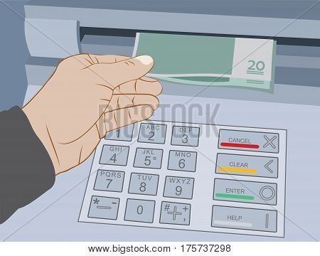Hand take cash out from ATM - withdrawal money on the cash machine