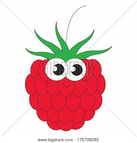 Funny Raspberry cartoon. Outlined object with black stroke.