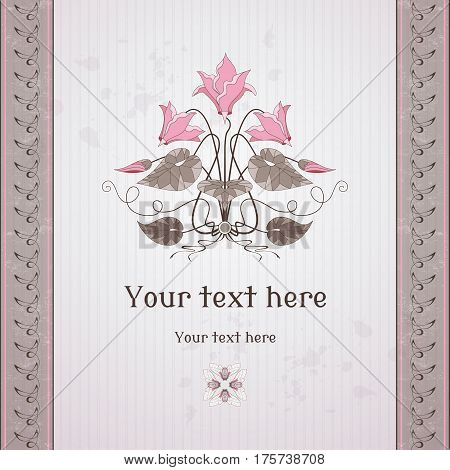 Vector Card. Vintage Pattern And Border In Modern Style. Decorative Element Of Cyclamen Plants. Old
