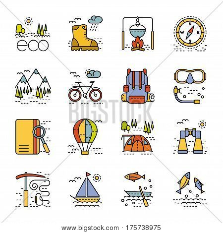 Eco tourism icons set on white background. Collection of modern flat style design element. Vector illustration can be used for web page banner infographics