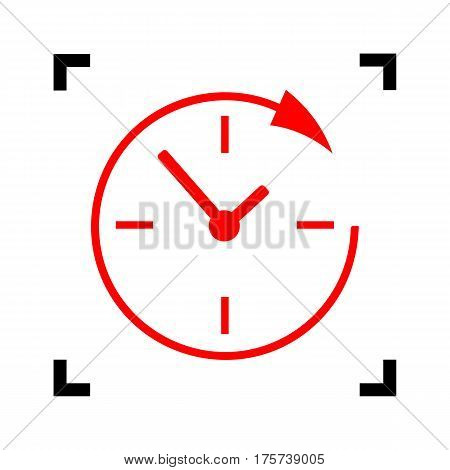 Service and support for customers around the clock and 24 hours. Vector. Red icon inside black focus corners on white background. Isolated.
